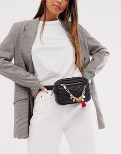 Стеганая сумка-кошелек на пояс с цепочкой Aldo-Черный