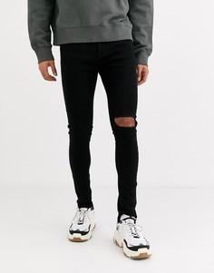 Черные джинсы скинни с рваной отделкой Criminal Damage-Черный