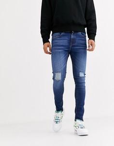 Синие джинсы скинни с рваной отделкой Criminal Damage-Синий