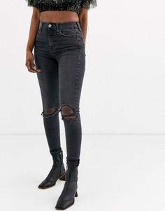 Черные джинсы скинни с рваными коленями Topshop-Черный