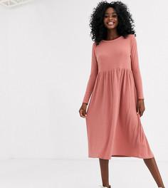 Нюдовое платье-футболка миди в рубчик New Look-Светло-коричневый