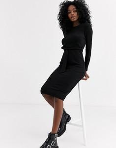 Черное трикотажное платье миди с поясом New Look-Черный