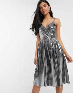 Серебристое плиссированное платье миди с эффектом металлик River Island-Серебряный