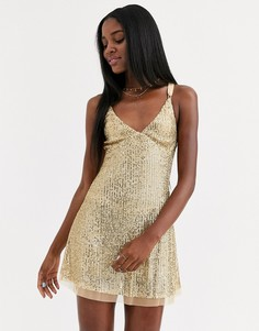 Платье мини с пайетками Free People-Золотой