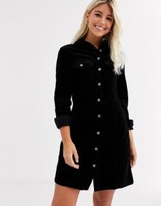 Черное вельветовое платье-рубашка New Look-Черный
