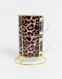 Кружки с леопардовым принтом River Island-Коричневый