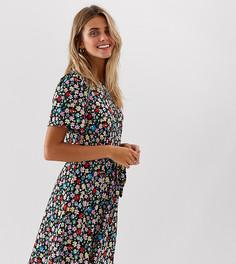 Платье мини с цветочным принтом и поясом JDY-Черный
