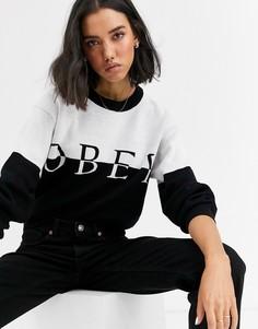 Вязаный контрастный джемпер с логотипом Obey-Черный