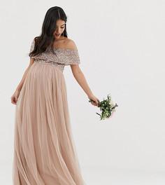 Розовое платье макси из тюля с широким вырезом и однотонными пайетками Maya Maternity Bridesmaid-Коричневый