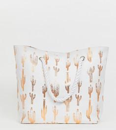 Эксклюзивная пляжная сумка с принтом кактусов цвета розового золота South Beach-Белый