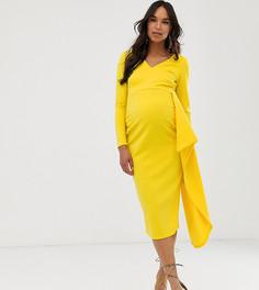 Желтое платье миди с асимметричными оборками True Violet Maternity-Желтый