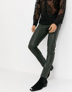 Зауженные джинсы из искусственной кожи оливкового цвета ASOS DESIGN-Зеленый