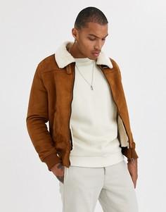 Коричневая куртка из искусственной замши с контрастным воротником Bershka-Светло-коричневый