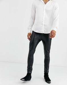 Черные джинсы скинни из искусственной кожи с покрытием ASOS DESIGN-Черный