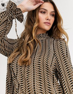 Блузка с геометрическим принтом Vero Moda-Бежевый