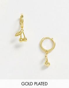 Позолоченные серьги-кольца с подвеской в форме вишни Image Gang-Золотой