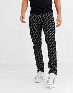 Черные суженные книзу джинсы ограниченной серии со сплошным принтом Calvin Klein Jeans 50-Черный