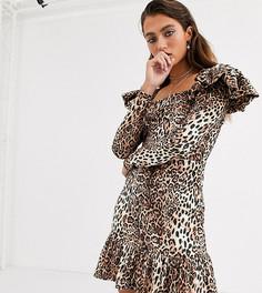Бархатное облегающее платье мини с леопардовым принтом House Of Stars-Коричневый