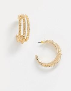 Золотистые фактурные серьги-кольца ASOS DESIGN-Золотой
