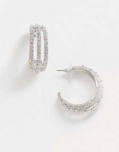 Серебристые фактурные серьги-кольца ASOS DESIGN-Серебряный