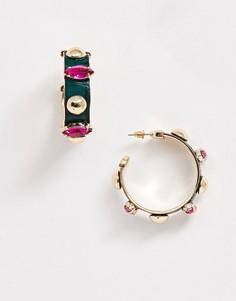 Золотистые серьги-кольца с искусственной кожей и камнями ASOS DESIGN-Золотой