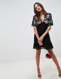 Ярусное платье мини с цветочной вышивкой ASOS DESIGN-Черный