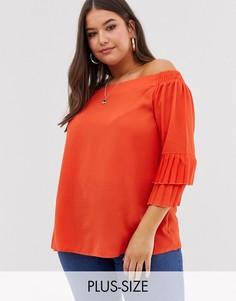 Блузка с открытыми плечами и ярусными рукавами Lovedrobe-Оранжевый