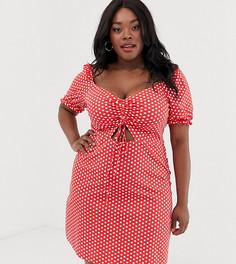 Платье мини в горошек с пышными рукавами и завязкой Glamorous Curve-Красный