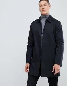 Черный однобортный макинтош из хлопка New Look