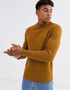 Трикотажный джемпер горчичного цвета Burton Menswear-Желтый