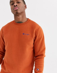 Оранжевый свитшот с круглым вырезом и небольшой надписью Champion Reverse Weave-Светло-коричневый