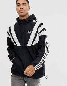 Черная ветровка с 3 полосками adidas Originals-Черный