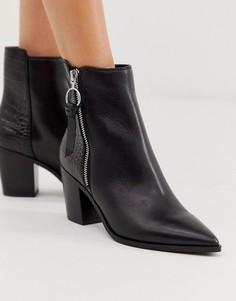 Кожаные полусапожки на среднем каблуке с эффектом крокодиловой кожи на вставке ALDO-Черный