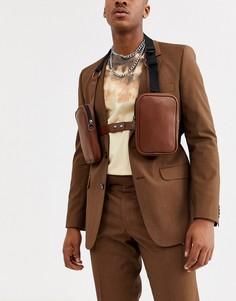 Коричневая сумка из искусственной кожи с тисненым крокодиловым рисунком ASOS DESIGN-Коричневый