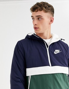 Сине-зеленая дутая куртка с короткой молнией Nike Eco-Down-Темно-синий