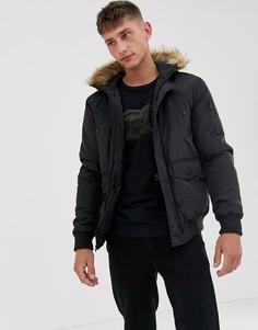 Куртка-авиатор с отделкой искусственным мехом на капюшоне French Connection-Черный