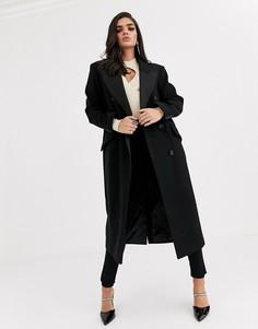 Черное пальто-смокинг макси ASOS DESIGN-Черный