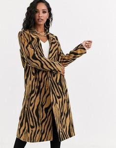 Двубортное пальто со звериным принтом и начесом ASOS DESIGN-Мульти