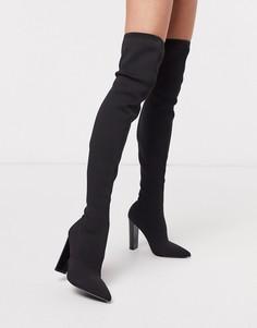 Черные трикотажные ботфорты на блочном каблуке ASOS DESIGN Kudos-Черный цвет