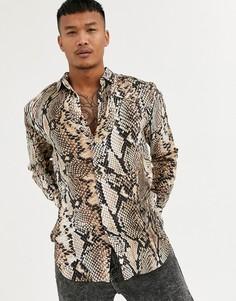 Рубашка с длинными рукавами и змеиным принтом SikSilk-Бежевый