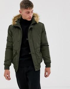 Куртка-авиатор с отделкой искусственным мехом на капюшоне French Connection-Зеленый