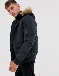 Куртка-авиатор с отделкой искусственным мехом на капюшоне French Connection-Темно-синий
