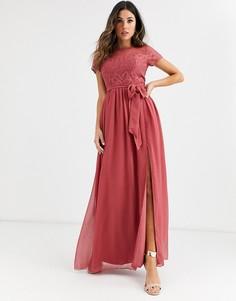 Кружевное платье макси с вырезом сердечком и короткими рукавами Little Mistress-Розовый