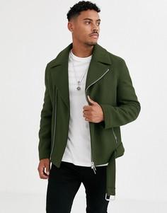 Байкерская куртка хаки с добавлением шерсти и ремнем ASOS DESIGN-Зеленый