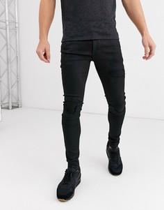 Черные супероблегающие джинсы в байкерском стиле с покрытием River Island-Черный
