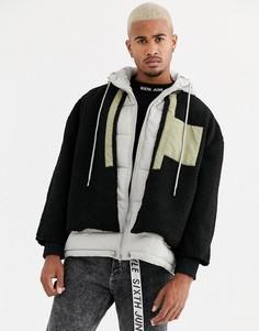 Черная куртка с искусственной овчиной и капюшоном Sixth June-Черный