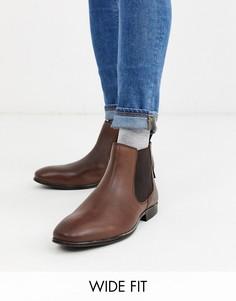 Коричневые кожаные ботинки челси для широкой стопы Ben Sherman-Коричневый