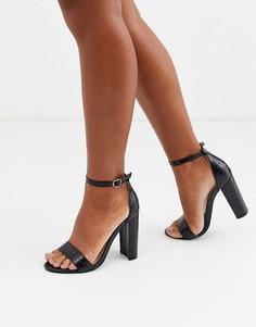 Черные босоножки на каблуке с эффектом крокодиловой кожи Glamorous-Черный