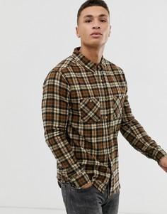 Приталенная рубашка в клетку с двумя нагрудными карманами Soul Star-Светло-коричневый