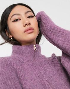 Джемпер с добавлением шерсти и воротником на молнии ASOS WHITE-Фиолетовый